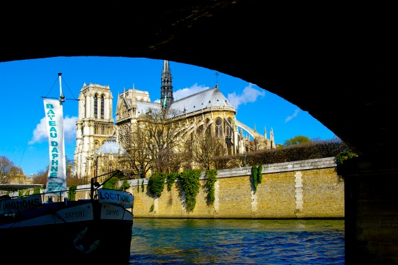 Notre Dame from under bridge